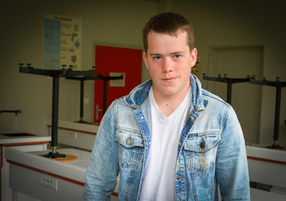 Loïc Brault, apprenti en Terminale Bac Pro au CFA de Kerliver, sur le site du Lycée de Suscinio à Morlaix (29).