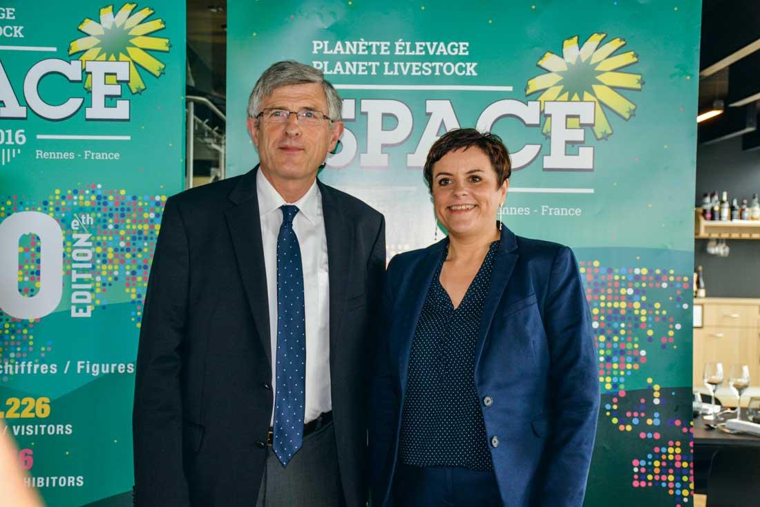 Marcel Denieul, président du Space, et Anne-Marie Quemener, commissaire générale.