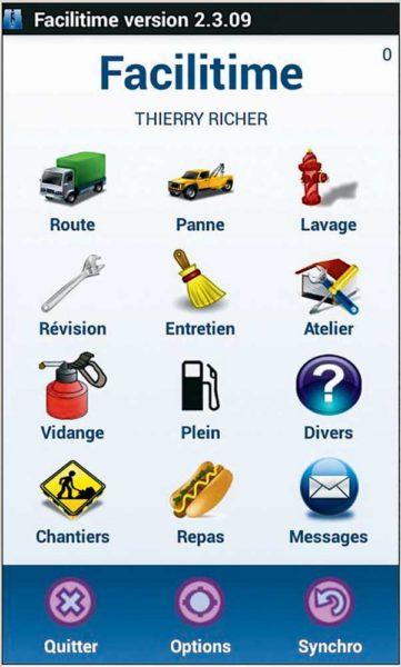 Au fur et à mesure, le chauffeur clique sur les icônes, pour communiquer en direct l'état d'avancement du chantier.