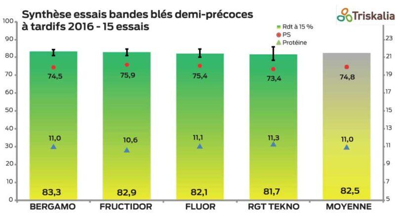 En blés demi-précoces à tardifs, Bergamo, après 2 années mitigées, prend la tête de ce classement. Fructidor, variété à haut potentiel, bon profil maladie et bon PS, se classe 2e  et confirme ses résultats de 2015. Fluor, toujours bien présente, satisfait en rendement et en PS. RGT Tekno, après deux bonnes campagnes, est très variable dans les résultats cette année.