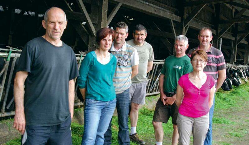 De gauche à droite: Thierry Lenain, Marietta Duvacher, Fabrice Guérot, Hervé Mongason, Gilbert et VivianeGuérot, et Thierry Veugeois.