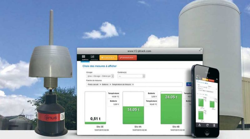 Des capteurs sans fil installés sur les silos permettent d'avoir un inventaire du stock d'aliments en temps réel, avec précision et en toute sécurité, sans avoir à monter sur les silos.