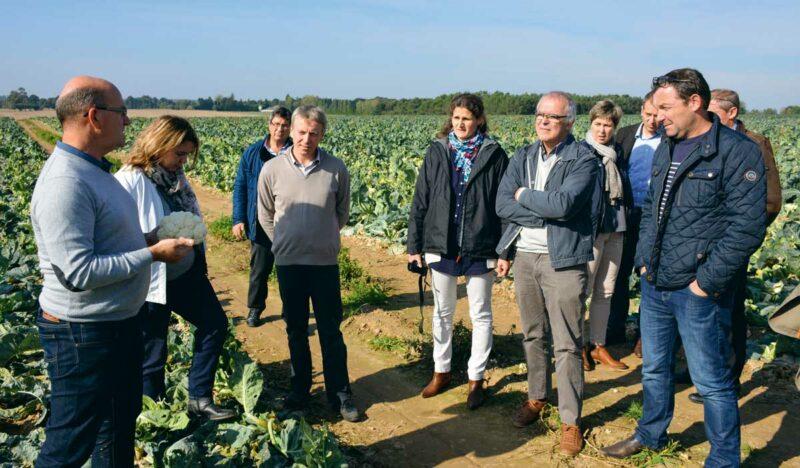 Des responsables de restaurants de collectivités ou d'entreprises agro-alimentaires en discussion avec des producteurs chez Jean-René Menier, à Mauron (56), sur le thème du développement des circuits courts, accessibles à tous les budgets.