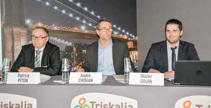 Patrick Piton, directeur des productions animales Triskalia ; André Chouan, président de la section œuf ; Olivier Gouin, directeur de l'activité ponte.