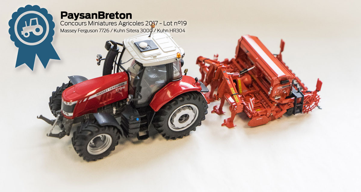 Photo of Concours miniatures : Massey Ferguson 7726, Kuhn HR304 et Sitera 3000