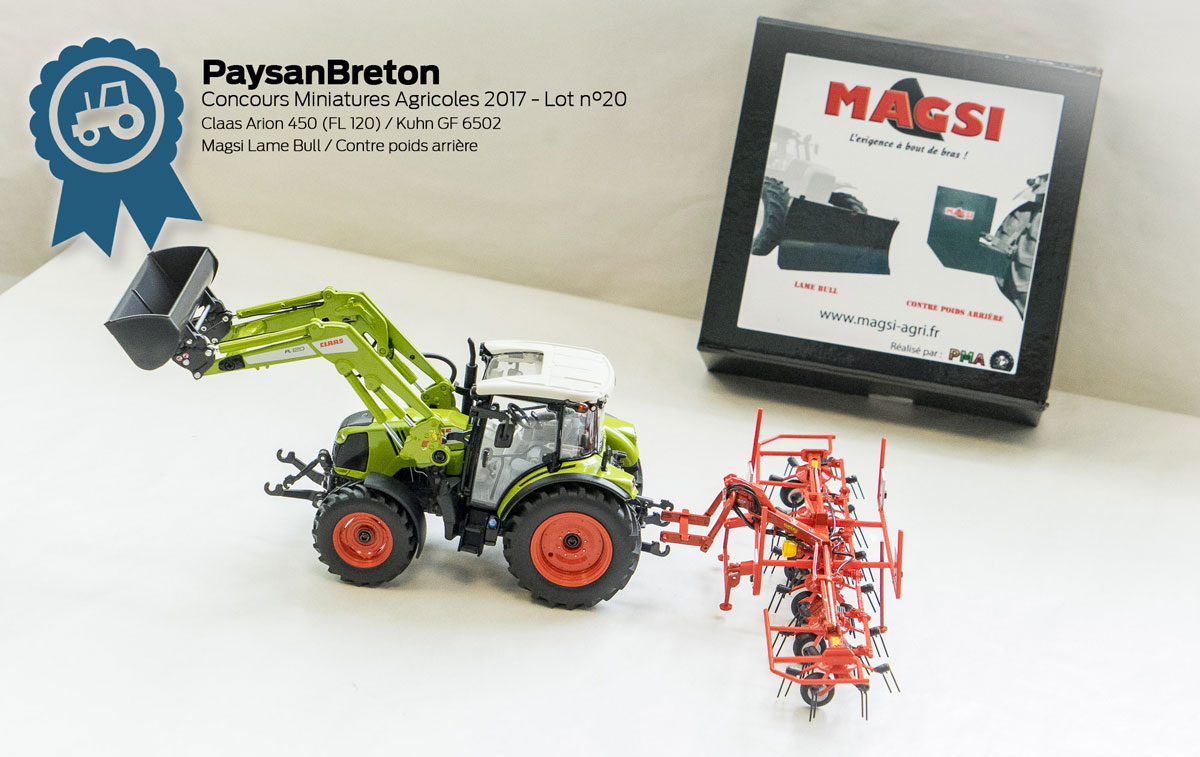 Photo of Concours miniatures : Claas Arion 450, Kuhn GF6502, Lamebull Magsi
