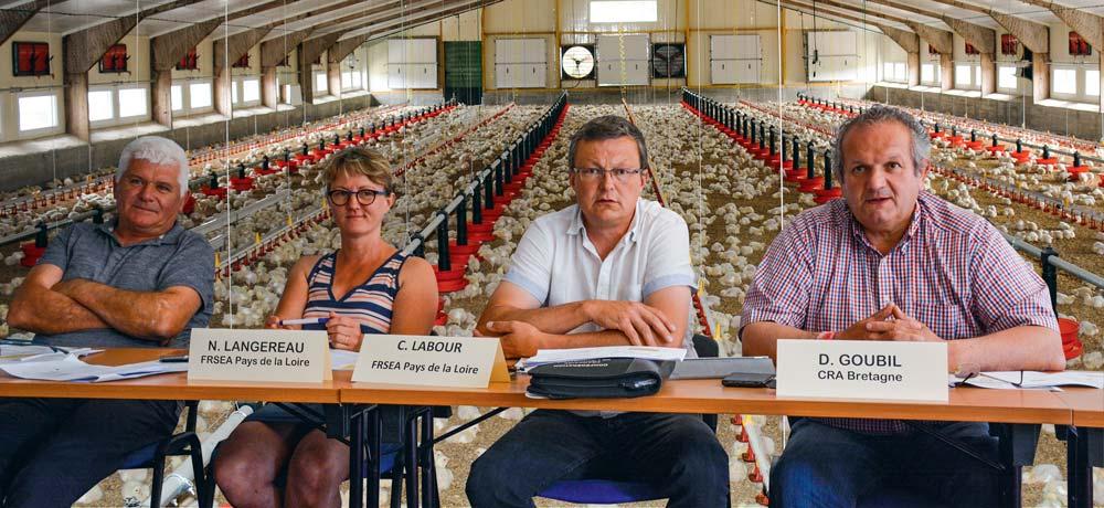 Bernard Godet, CRA Pays de la Loire ; Nathalie Langereau, FRSEA Pays de la loire ; Christophe Labour, FRSEA Pays de la Loire ; Didier Goubil, CRA Bretagne.