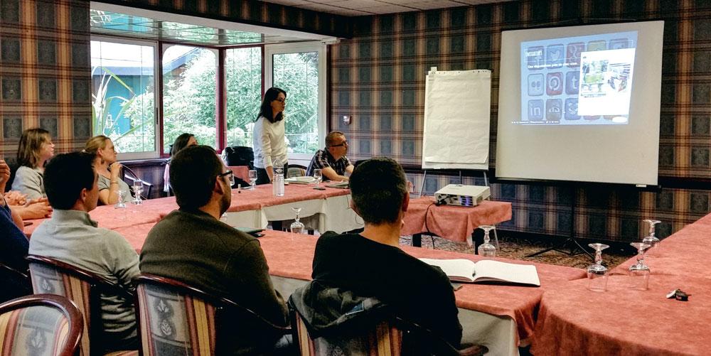 Sylvien Kerrien, ingénieur service web à Triskalia, a étayé sa présentation par de nombreux exemples d'utilisations des réseaux sociaux.