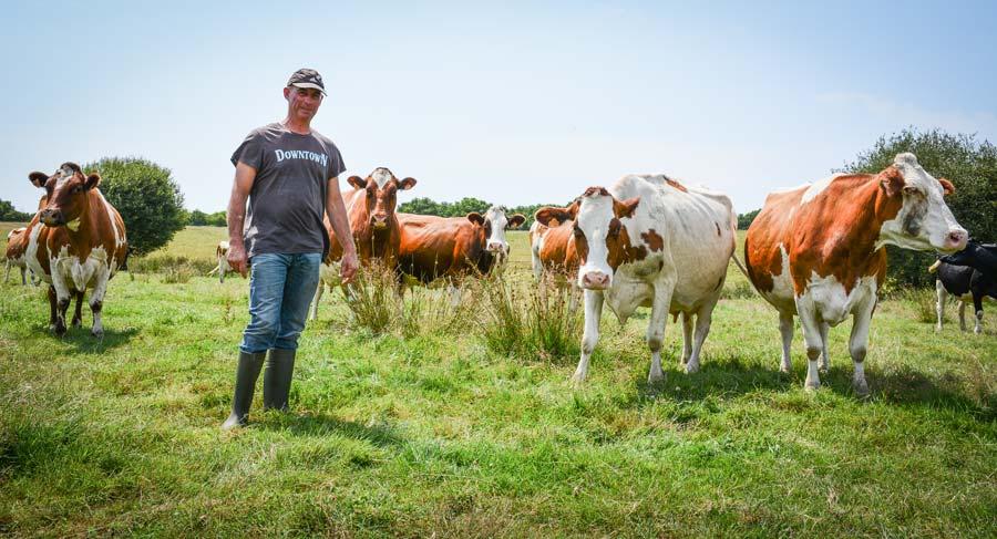 Olivier Edy, producteur de lait bio à Lignol, dans une parcelle humide proche de l'exploitation.