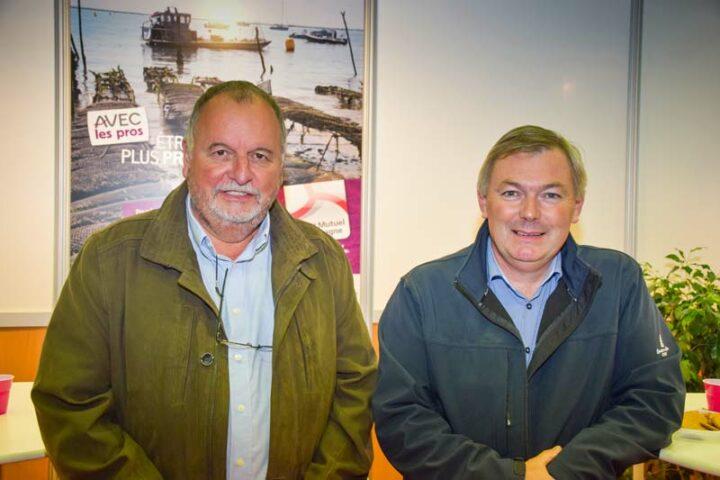Goulven Brest et Philippe Le Gal, présidents respectifs des Comités Régionaux Conchylicoles de Bretagne Nord et Sud. «Il nous faut des moyens financiers, fiscaux et comptables pour pouvoir passer au mieux les crises».