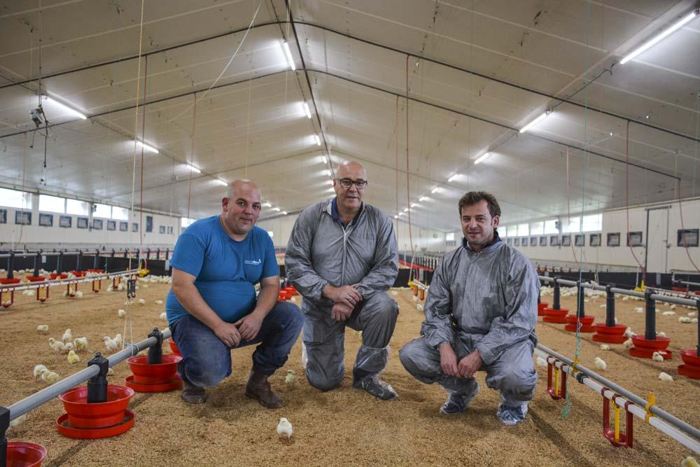 Florent Duffros, aviculteur ; Jean-Pierre Guillou, responsable commercial Fancom et David Serot, gérant d'Agrilec.