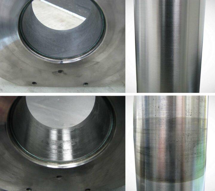 Les matériaux de glissement plus tendres comme deva.tex® (à gauche) se déforment et s'adaptent beaucoup mieux à la géométrie de l'arbre (à droite) que les paliers en métal, en répartissant la surface de contact et en diminuant les pics de charge afin de réduire l'usure et d'éliminer les défaillances dues à un défaut d'alignement de l'arbre. Ici, aspect avant (en haut) et après (en bas) les tests. © 2017 Federal-Mogul LLC