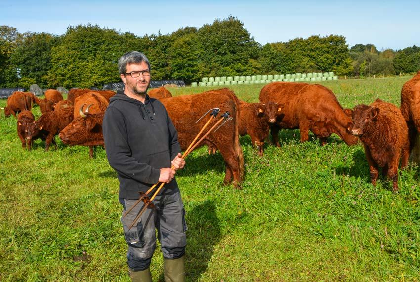 L'éleveur mise avant tout sur des espèces variées dans ses pâtures, pour offrir une flore abondante à ses vaches.