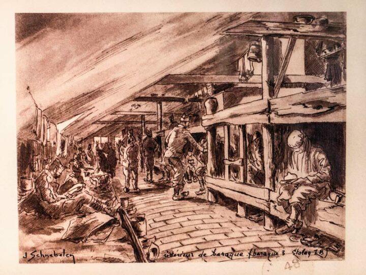 Les dessins du prisonnier Jean Schnebelen relatent la vie quotidienne dans les camps de prisonniers.