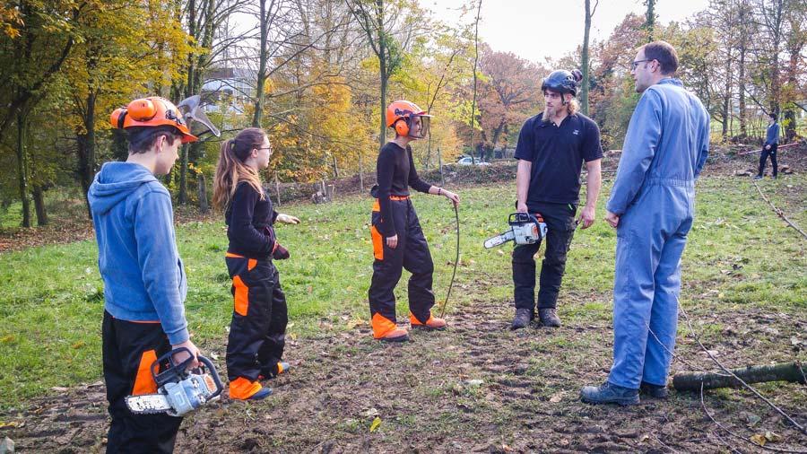 Un groupe d'élèves lors d'un chantier d'entretien du bocage à la tronçonneuse. Un bûcheron professionnel dispense ses précieux conseils aux étudiants lors de travaux pratiques sur le terrain.