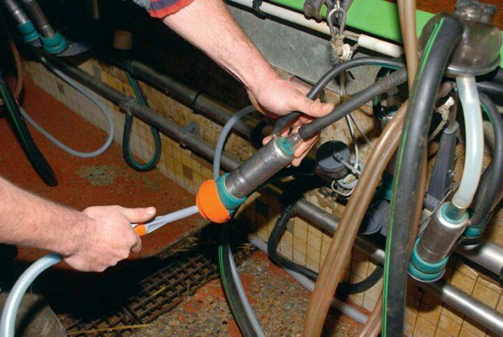 Grâce à une pompe doseuse, l'intérieur des manchons est pulvérisé avec du désinfectant entre chaque vache.