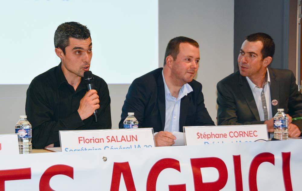 De gauche à droite: Florian Salaun, secrétaire général, Stéphane Cornec, président, et Pierre-Marie Vouillot, vice président national.