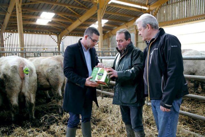 Jean-Luc Talvas de Cultivert, accompagné par Frédéric Guichard, a conseillé Patrice Bihoes et le lycée Kerlebost dans l'achat du détecteur de vêlage.