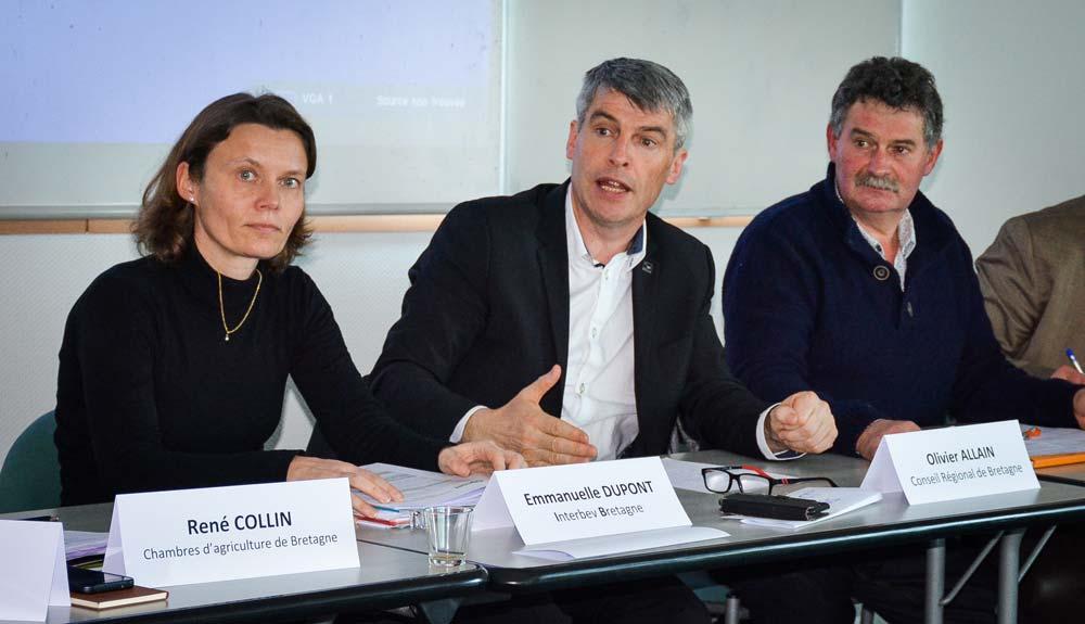 De gauche à droite: Emmanuelle Dupont, directrice d'Interbev Bretagne, Olivier Allain, vice-président du Conseil régional et coordinateur des EGA, et Jean-Louis Hervagault, président de la Commission viande de la Chambre d'agriculture 35.
