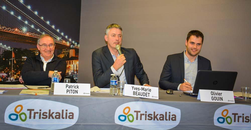 Patrick Piton, directeur des productions animales Triskalia; Yves-Marie Beaudet, président de la section œuf; Olivier Gouin, directeur de l'activité ponte.