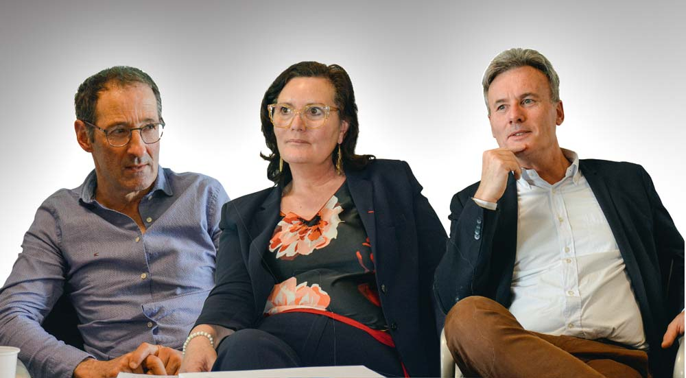 De g. à dr. : Claude Bonnet, président de l'Unell, Marie-Thérèse Bonneau, vice-présidente de la FNPL et Serge Moly, directeur approvisionnement lait du groupe Lactalis.