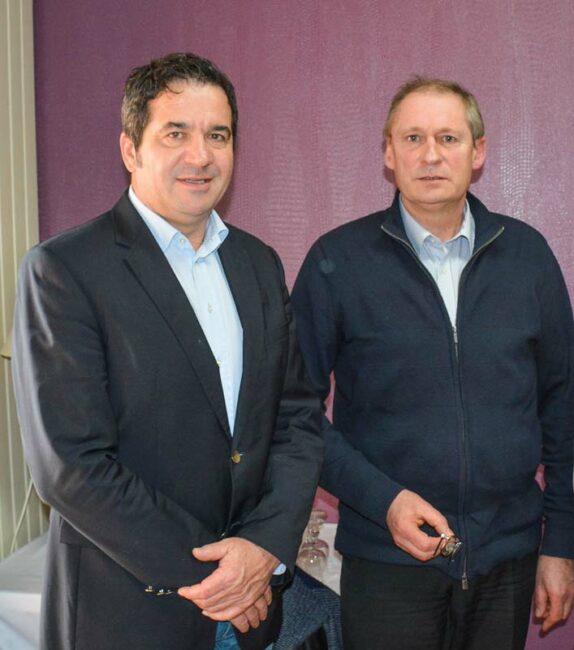 De g.àdr.: ÉricFrétillère, présidentIrrigantsde France, Jean-Claude Orhan, président de l'Uopli.