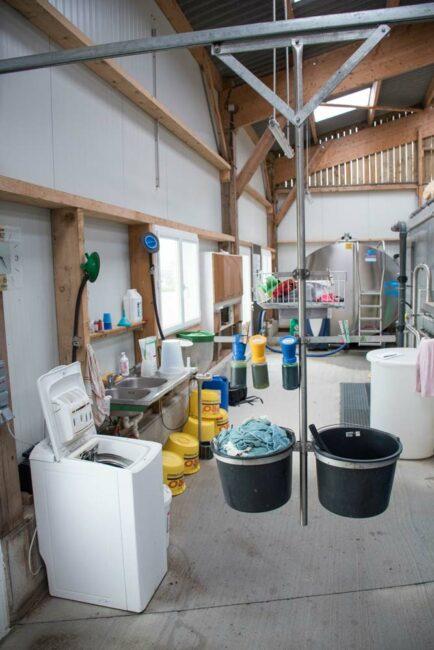 À portée de rail : Au Gaec Beamont-Ferrard à Thourie, le rail portant les seaux de lavettes et les gobelets trempeurs traversent la fosse de traite d'un bout à l'autre. L'installateur de la salle de traite a proposé de prolonger le rail de 2 m jusqu'à la machine à laver (lavettes) qui est installée à l'entrée du plain-pied de l'installation.