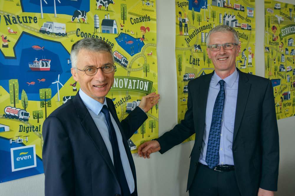 Christian Couilleau et Guy Le Bars s'ouvrent aux nouvelles pratiques alimentaires. Une façon de sécuriser les activités de la coopérative et de limiter la volatilité.