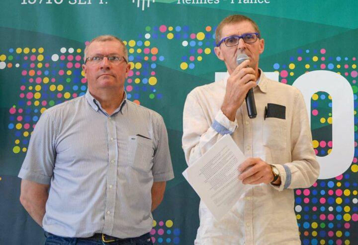 Patrice Le Penhuizic et Patrick Guillerme, co-présidents du Pôle conversion bio Bretagne et respectivement président de la commission bio des Chambres d'agriculture de Bretagne et président de la fédération des agriculteurs bio  de Bretagne.