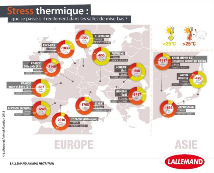 Enquête sur les risques de stress thermique dans les salles de maternité en Europe et Asie. Pourcentage du temps moyen quotidien passé au-dessus de 25 °C (stress thermique significatif) et estimation de la baisse d'ingéré associée (Lallemand Animal Nutrition, 2016-2018, données internes).