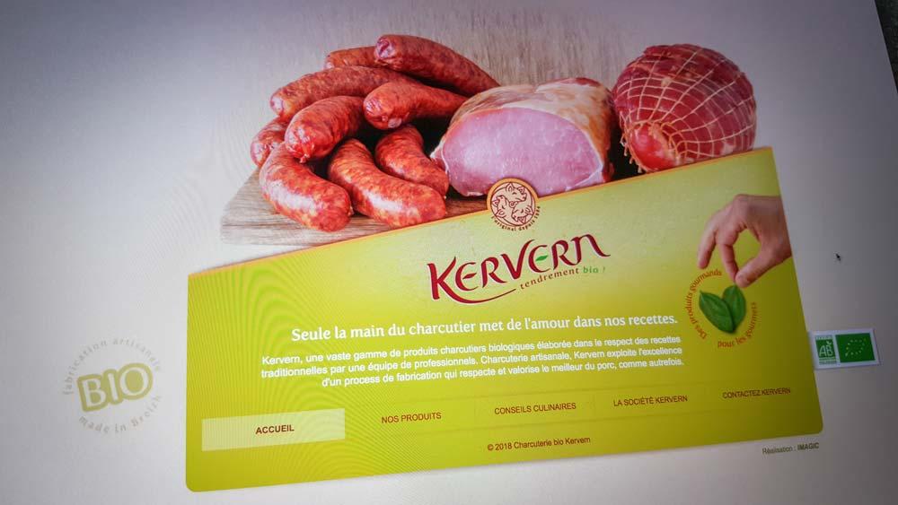 Capture du site kervern-charcuterie-bio.fr