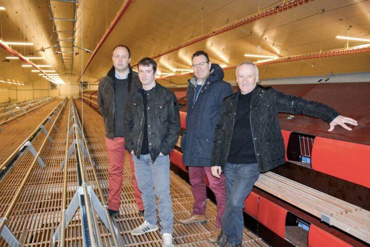 Jean-Louis Créach, technicien pondeuses chez Even ; Christophe Olivrin, aviculteur ; Olivier Le Provost, Hendrix Genetics ; Didier Olivrin, éleveur