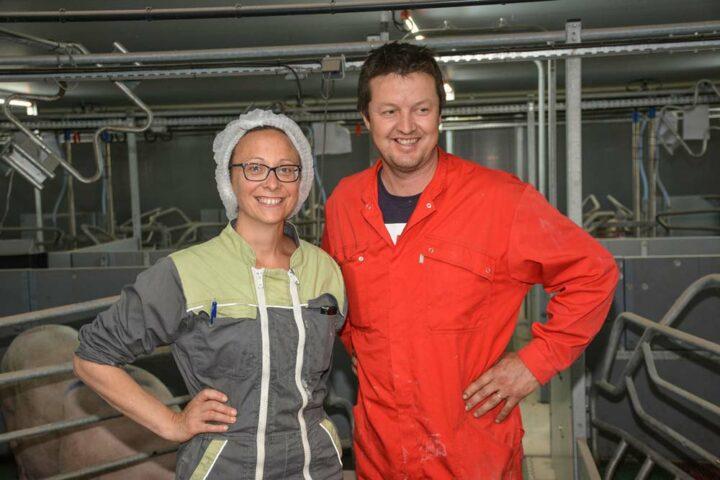 Anne et Philippe Perrot. Philippe élève une partie des porcs produits sur l'élevage d'Anne.