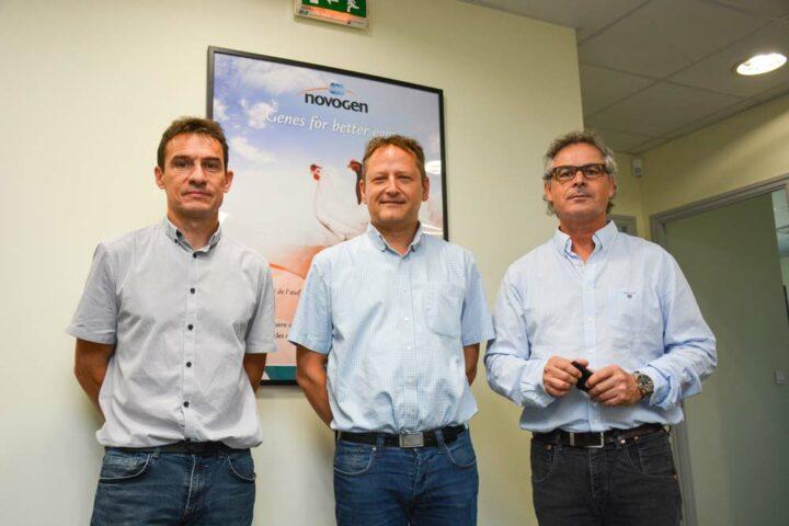 De g. à d. : Thierry Burlot, directeur recherche et développement ; Mickael Le Helloco, directeur de Novogen et Loïc Hervé, directeur commercial et technique de Novoponte.