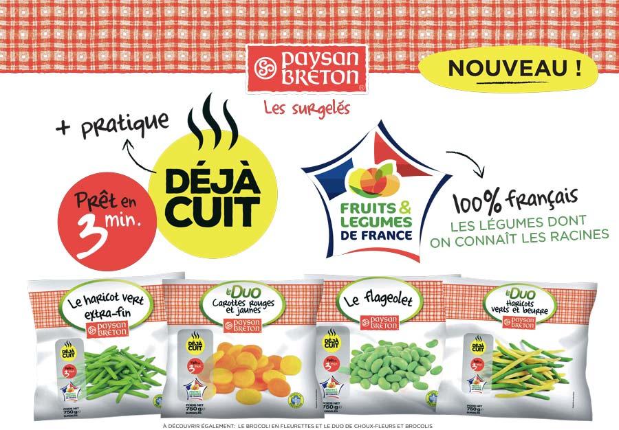 L'emballage des légumes a été revu pour afficher de manière évidente l'origine française des légumes et la praticité en cuisine.