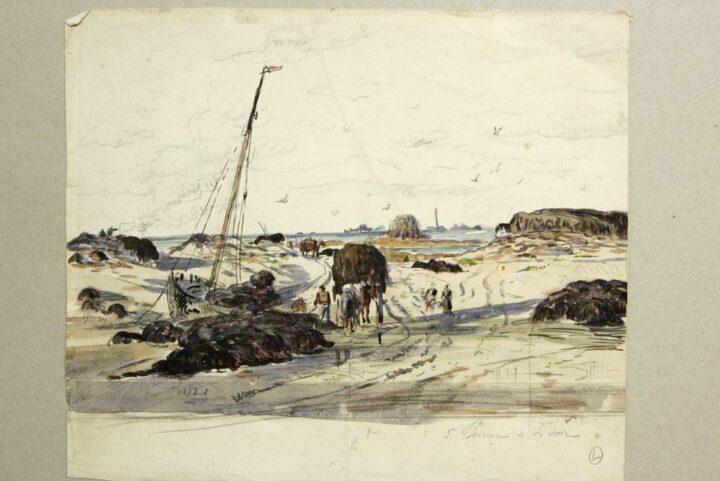 Les dessins de Louis-Marie Faudacq, peintre douanier du XIXe siècle, ont servi à comprendre l'activité humaine sur le Sillon. Ici, on reconnaît le phare des Héaux en arrière plan, ainsi que Min Buas, énorme bloc rocheux dans la mer.