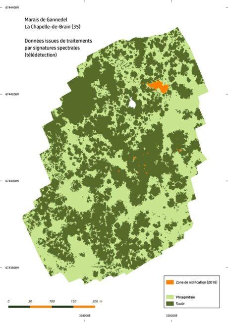 L'association de différentes technologies permet de réaliser des cartographies très précises, comme ici, avec l'identification des zones de nidification dans le marais de Gannedel (35).