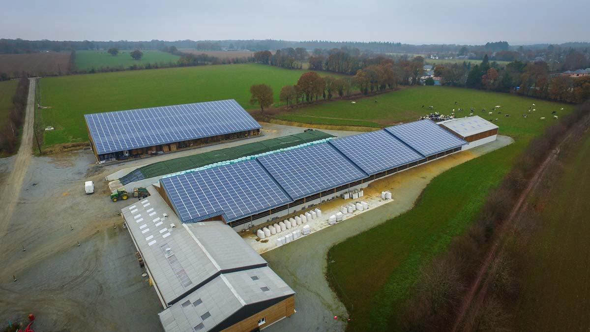 La stabulation et le hangar de stockage sont couverts de panneaux photovoltaïques
