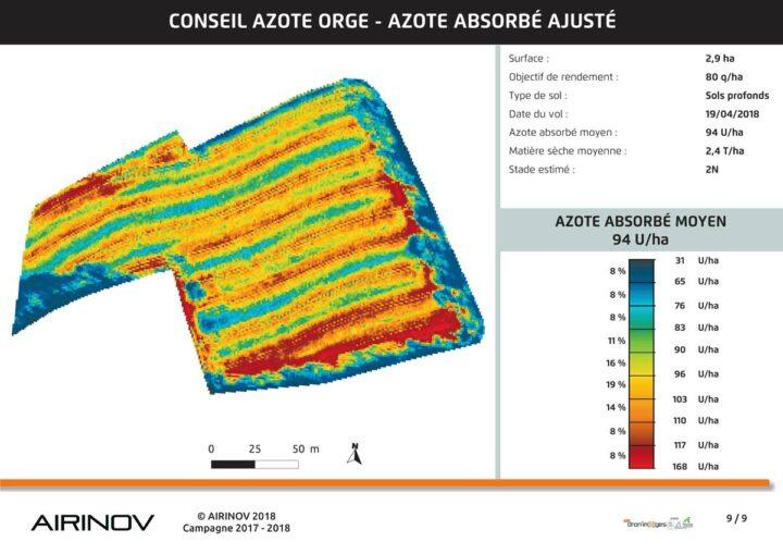 La mesure de l'azote absorbé permet aussi d'observer les éventuels problèmes de l'épandeur.