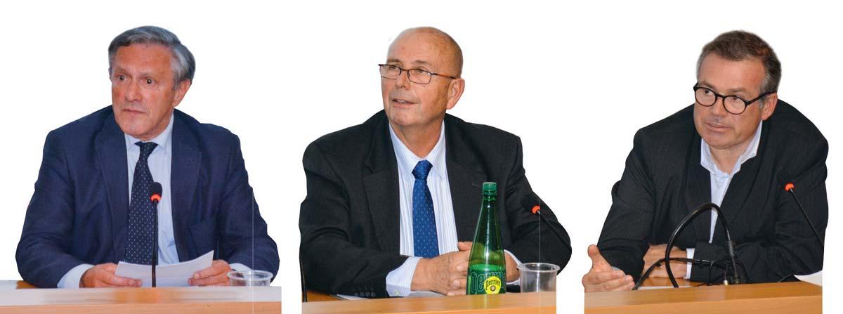 De gauche à droite : Jean-Louis Bernard (président du syndicat des propriétaires ruraux 35), Philippe Brayer (président national) et Vincent Lahalle (avocat spécialiste en droit de l'urbanisme).