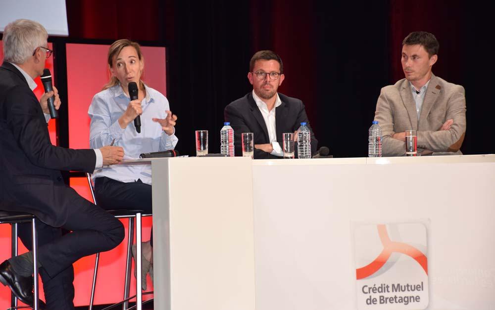 Valérie Cottereau (Artefacto), Christophe Le Bihan (Mytilimer) et Joakim Rahuel (Rahuel Bois) ont fait partager leur enthousiasme et leur passion pour l'entreprise, lors de la table ronde animée par le journaliste Xavier Debontride.
