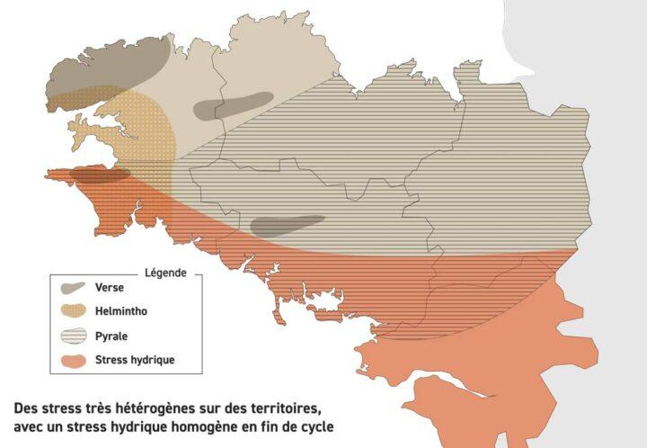 Carte des menaces observées en Bretagne en 2018.