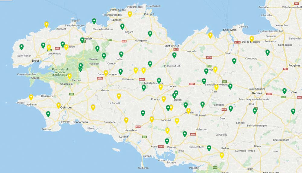 Carte des essais grandes bandes, maïs Triskalia 2018 (en jaune : grain en vert : fourrage).