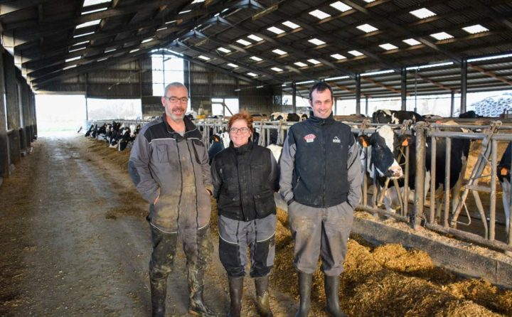 David Perrot, Flora Perrot et Emmanuel Turban, 3 des 6 associés du Gaec du Vieux Manoir.