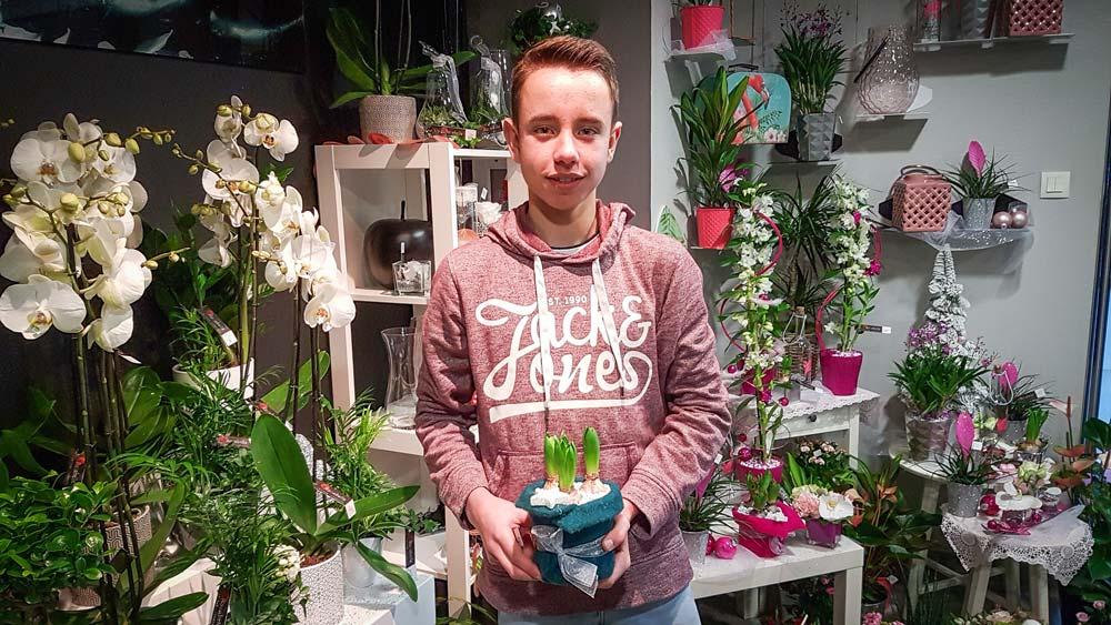 En décembre, Nolann Hany était en stage à la boutique Rosabelle à Châteaubourg (35). Le jeune passionné qui apprécie les périodes passées chez les professionnels prépare un CAP fleuriste en deux ans.
