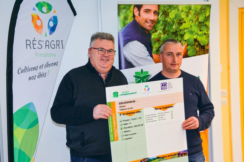 Jacques Le Bloas et Gilbert Tromeur présentent le panneau qui sera distribué lors des assemblées générales territoriales de Résagri Finistère.