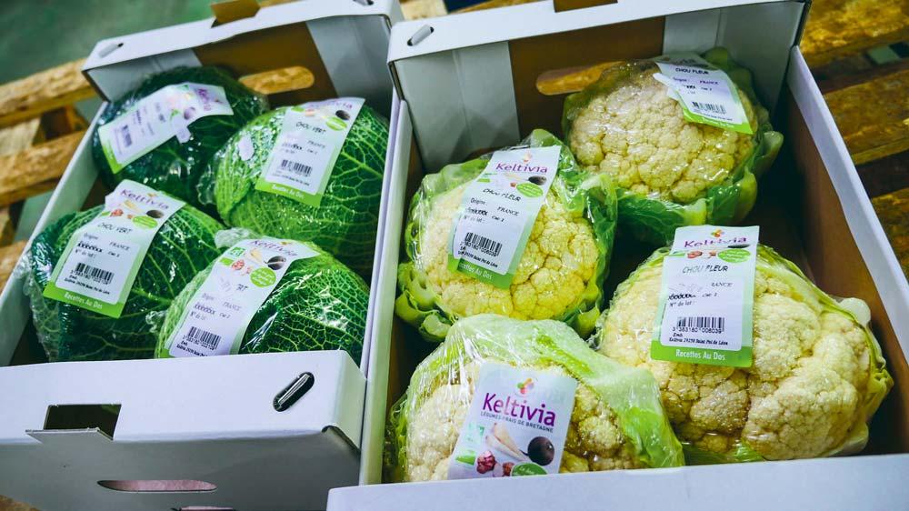 Les choux, légumes phares de la gamme bio pré-emballée.