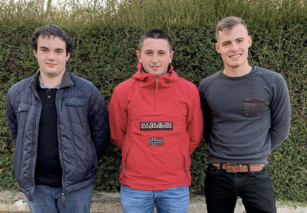 Corentin Boussard, Quentin Mével et Antoine Carriou.