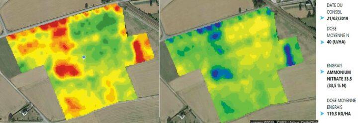 L'indice de végétation (NDVI), à gauche, évalue la vigueur et la qualité de la végétation. Le conseil (à droite), repère les zones demandant plus d'azote (en vert foncé et bleu).