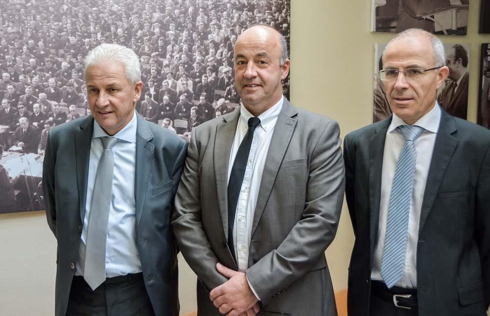De gauche à droite, les responsables de la Sica de Saint-Pol-de-Léon : Jean-Michel Péron, secrétaire général ; Marc Keranguéven, président et Olivier Sinquin, directeur.